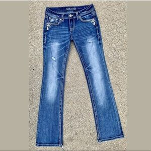 Grace in L. A. Gemstone Studded Bootcut Blue Jeans